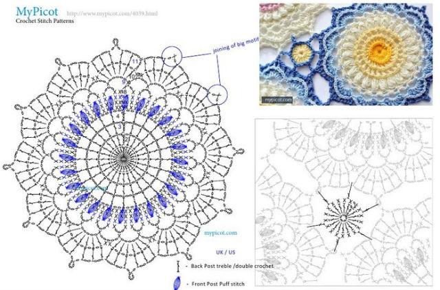 patron de motivo de flores y de círculos para unir al crochet