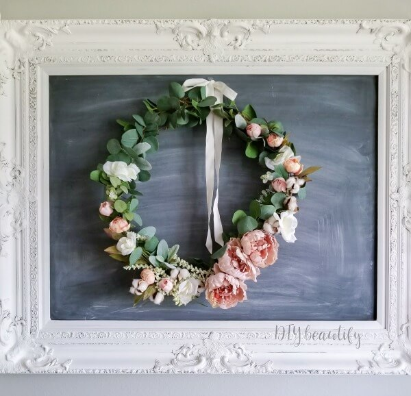 DIY spring wreath with blush peonies, cotton and eucalyptus