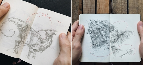 00-Ivan-Belikov-Dramatic-Drawings-of-Mythical-Animals-mid-Movement-www-designstack-co