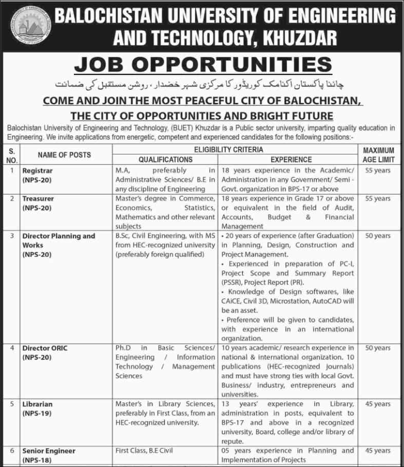 Advertisement for BUET Jobs 2019