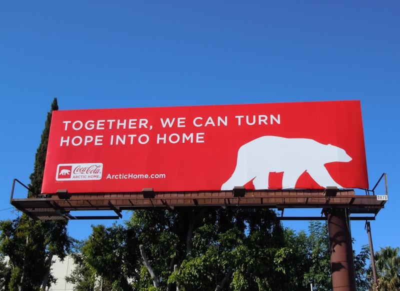 Coca-Cola polar bear billboard