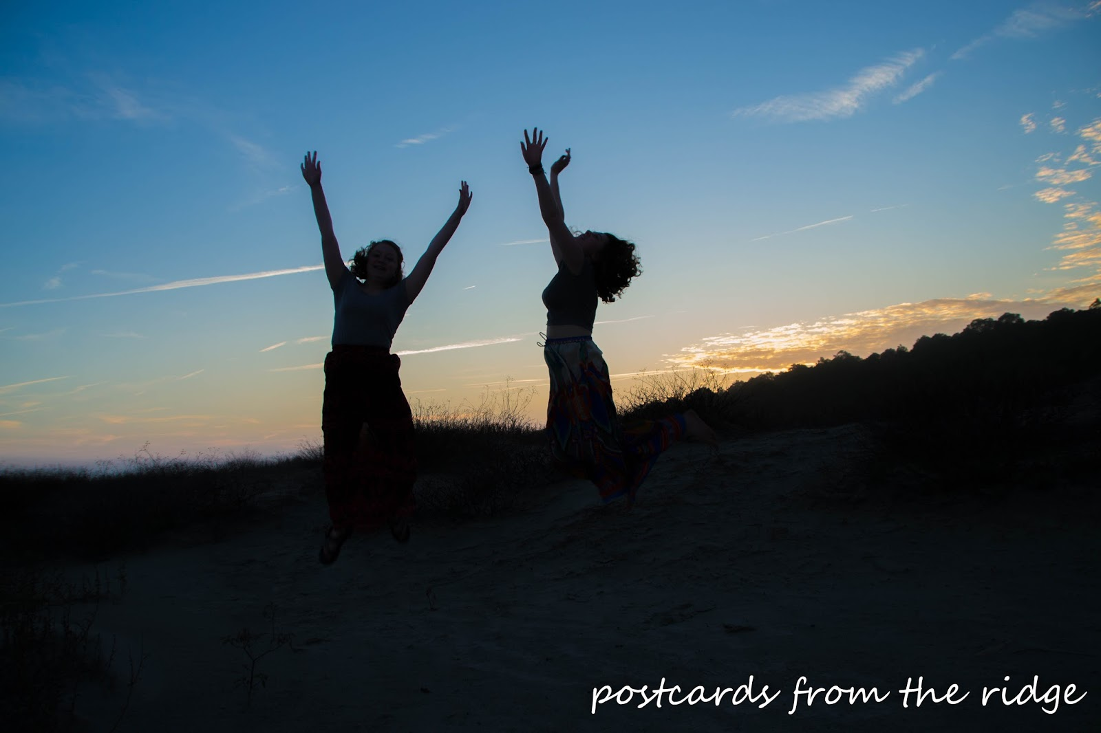 Silhouettes jumping in the sunset at Kiawah Island, SC. Postcards from the Ridge.