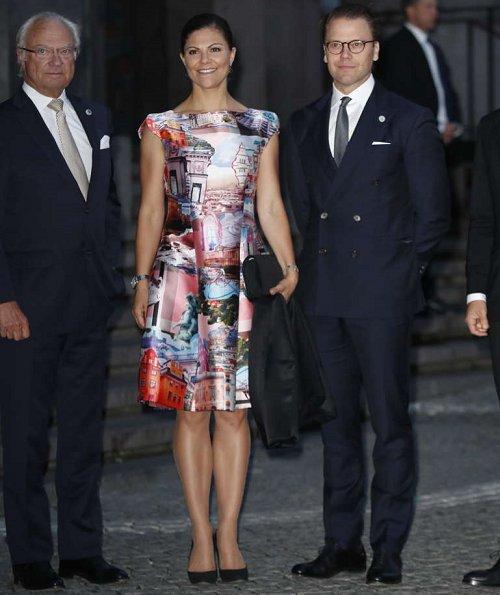 Princess Victoria wore Camilla Thulin dress, Princess Madeline wore By Malina Elsa fur jacket and Christian Louboutin pumps