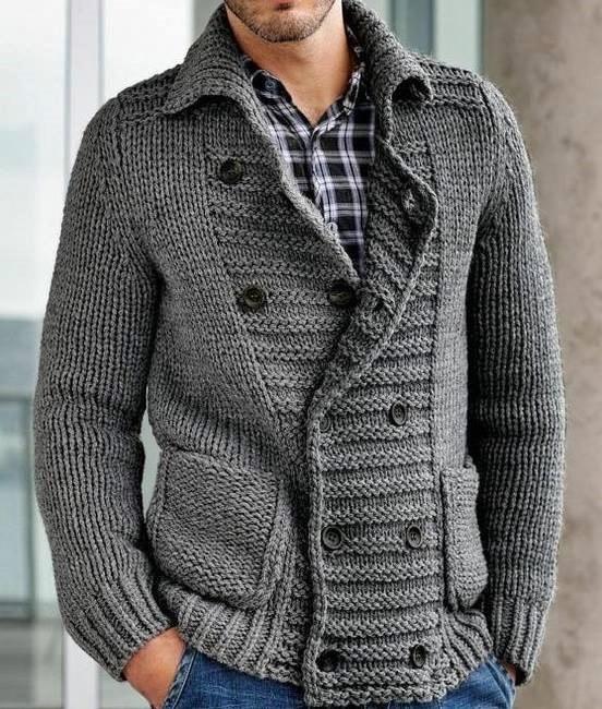 męskie swetry na drutach