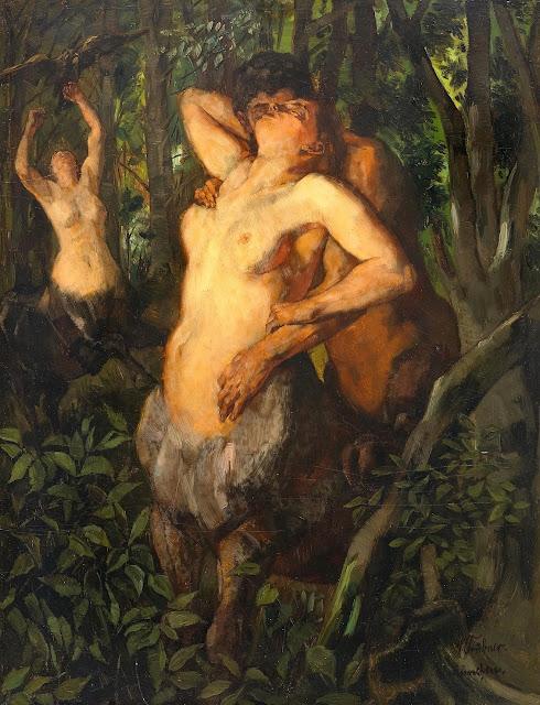 Wilhelm Trubner: Satiro con femmina di centauro
