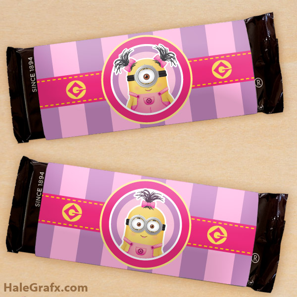 Minions for Girls Party: Free Printable Chocolate Wrappers.