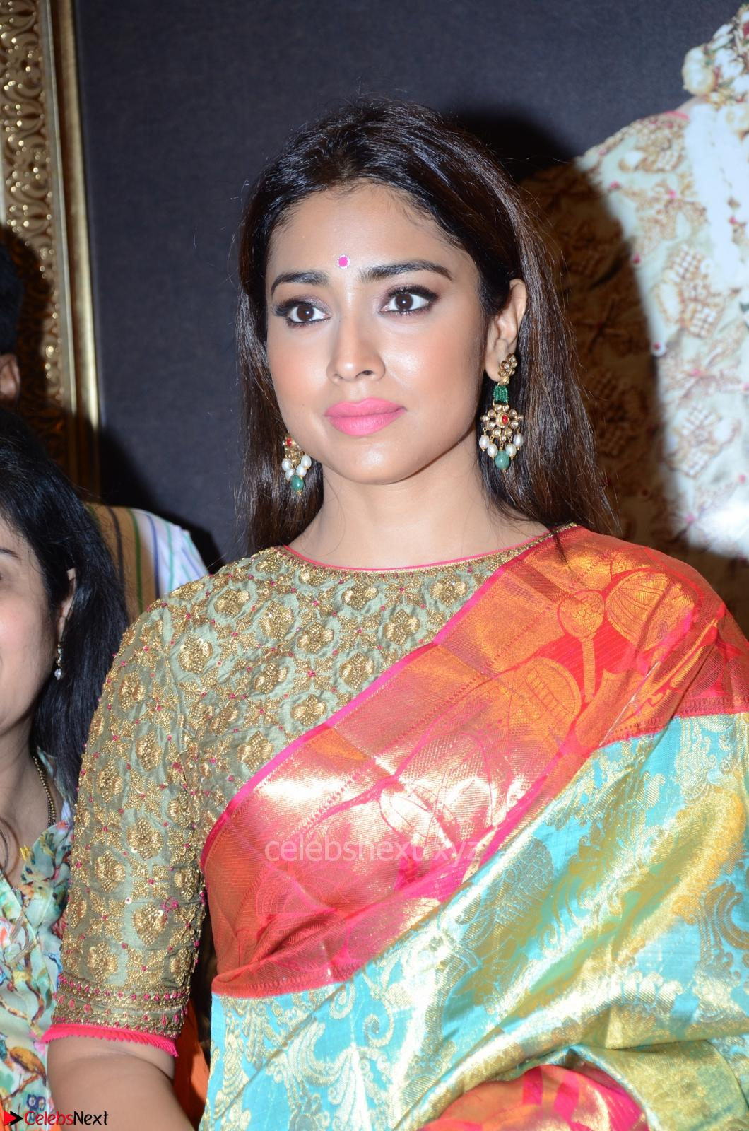 Shriya Saran in Silk Saree at VRK Silk Showroom Launch 13th May 2017