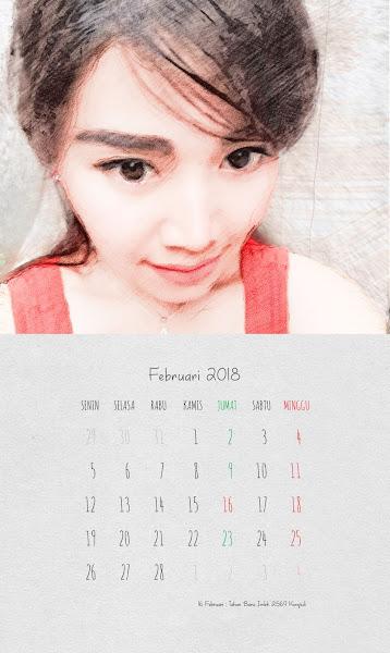 Desain Kalender Indonesia 2018 - Februari