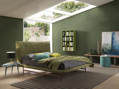 ห้องนอนโมเดิร์นสีเขียว