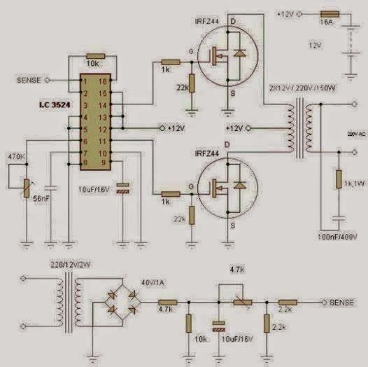 Electrical Engineering World: 150W inverter circuit DC to AC