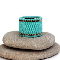 купить украшения из бисера бирюзовое колечко ручной работы