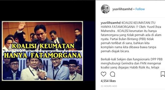 Waduh, Pendukung Prabowo Marah-marah di Akun Yusril Ihza Mahendra