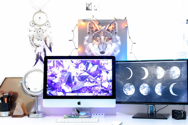 Desk Blogger Setup Blogging H&M Primark Crystal Urban Oitfitters Tumblr Moon Mac