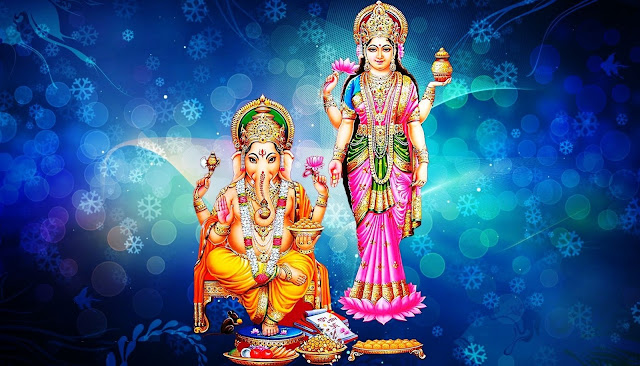Best Laxmi & Ganesha HD Wallpaper In Blue Background