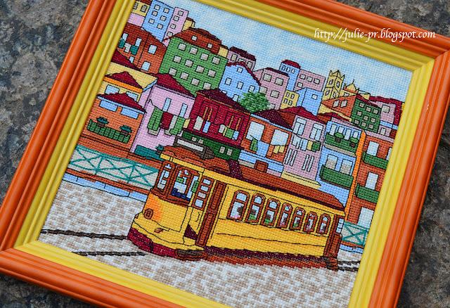 Лиссабон, трамвай, желтый лиссабонский трамвай, Lisboa, вышивка крестом, журнал вышиваю крестиком