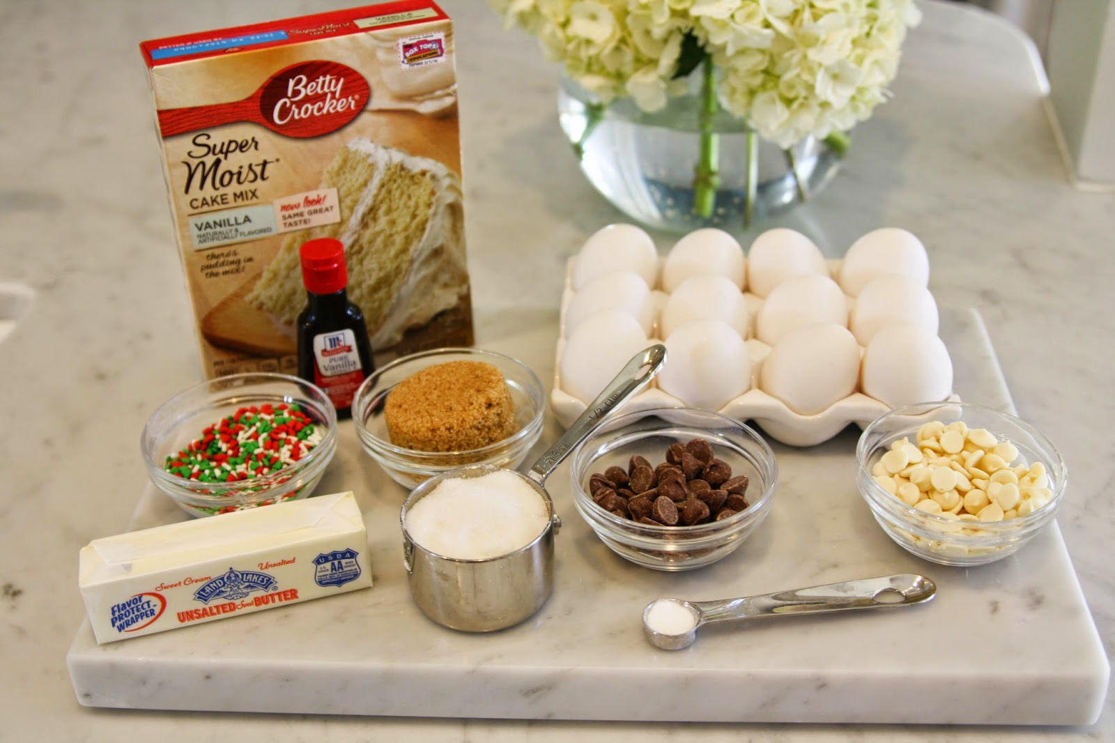 ingredients to make a cake hanging with the hewitts cake batter chocolate chip cookies 5154