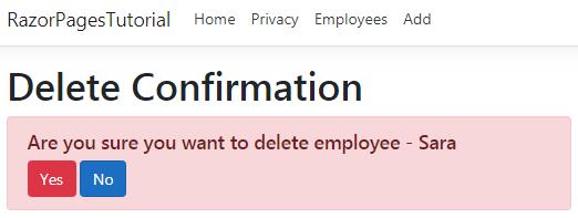 razor pages delete confirmation