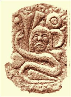 tehuelche snake and symbols. Engraved rock