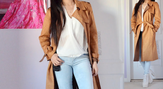 Tea-length longline faux suede camel tan trench coat from Dressystar, styled with a sheer chiffon wrap surplice blouse and light wash skinny jeans for a city-chic look