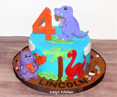 Phenomenal Katys Kitchen Dinosaur And Dragon Birthday Cake Personalised Birthday Cards Veneteletsinfo