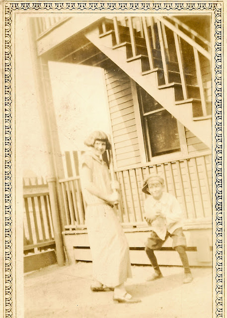 Fun photo of (probably) my grandmother, Sophie Karvoius, posing with an unidentified boy. She's got the bat, he's the catcher. I'm guessing this was taken some time in the 1920's, possibly in Elizabeth, NJ.