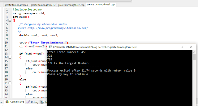 C++ Program To Find Greater Number. Among Given Three Number