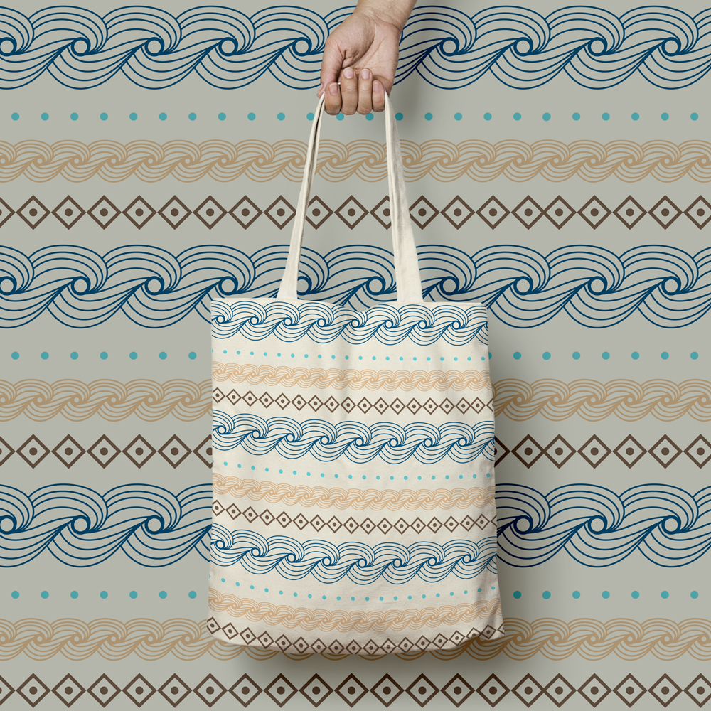 Tote bag with nice and impressive sea pattern