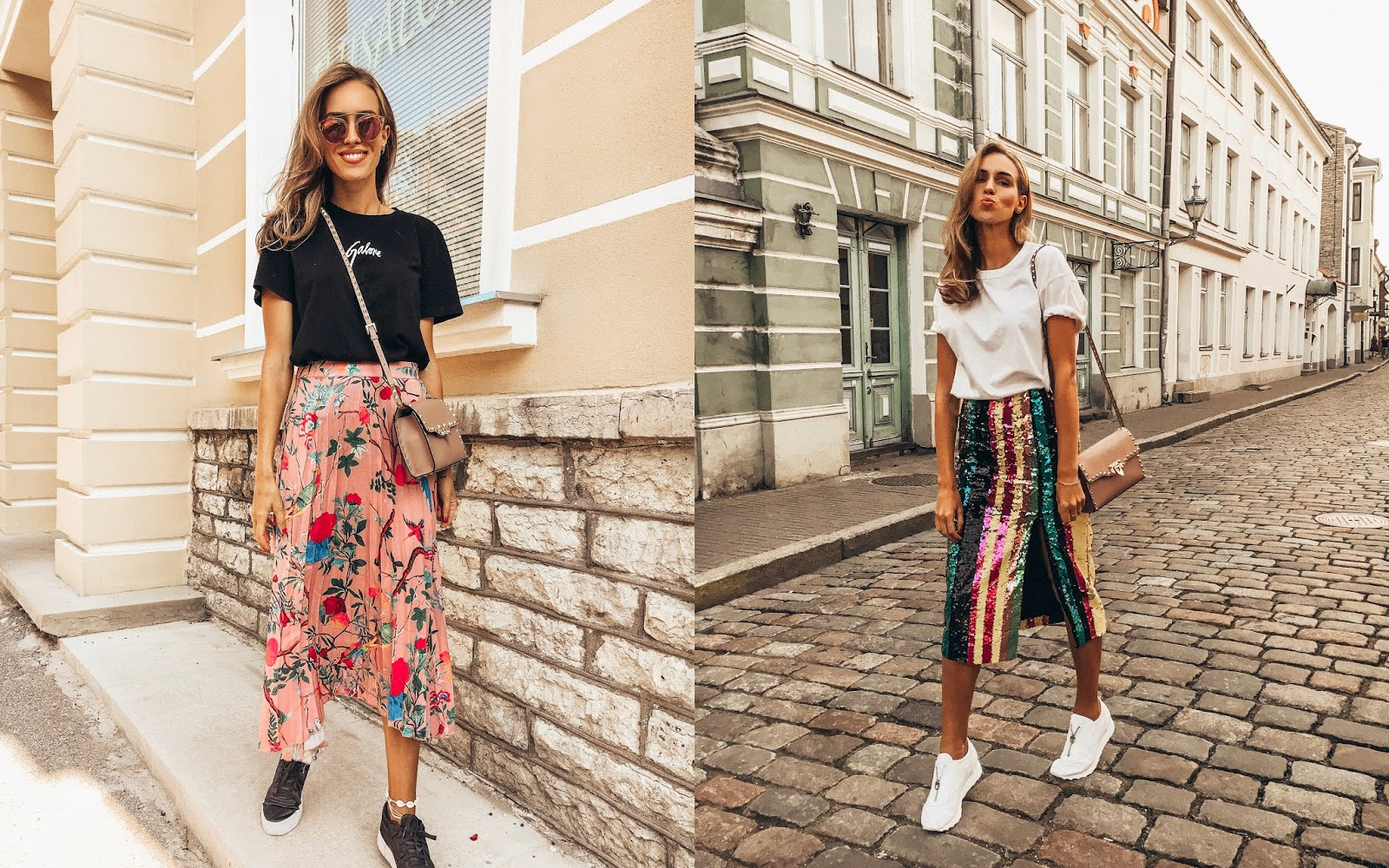 tshirt midi skirt sneakers outfit summer street style