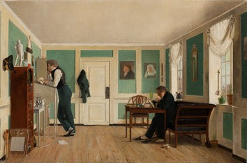 Wilhelm Bendz, Interior from Amaliegade. Captain Carl Ludvig Bendz standing and Dr. Jacob Christian Bendz seated (c. 1829) Hirschprung Museum (Copenhagen) Copyright: Hirschprung Museum