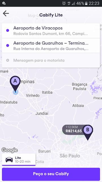 simulação Viracopos-Guarulhos de Cabify