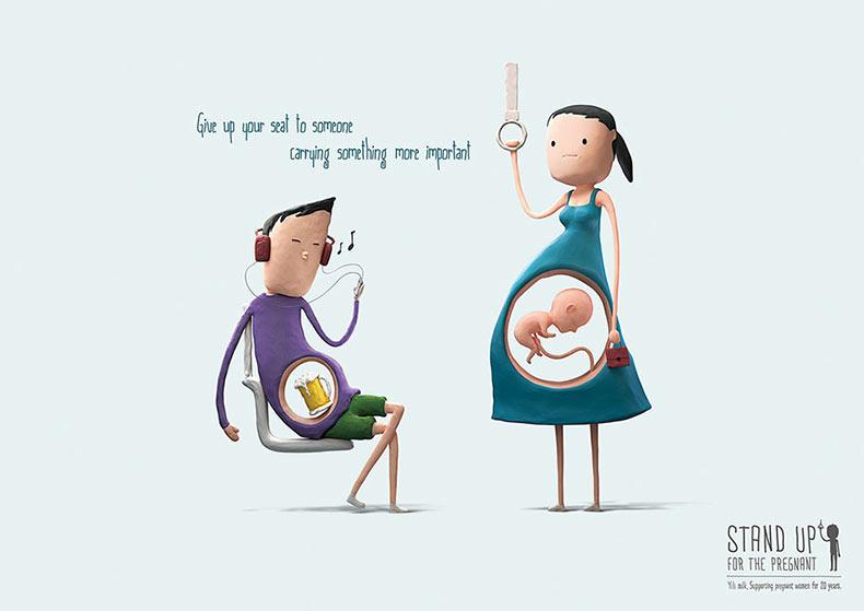 Levantate por la embarazada: Lindas ilustraciones nos recuerda dar el asiente a las mujeres embarazadas