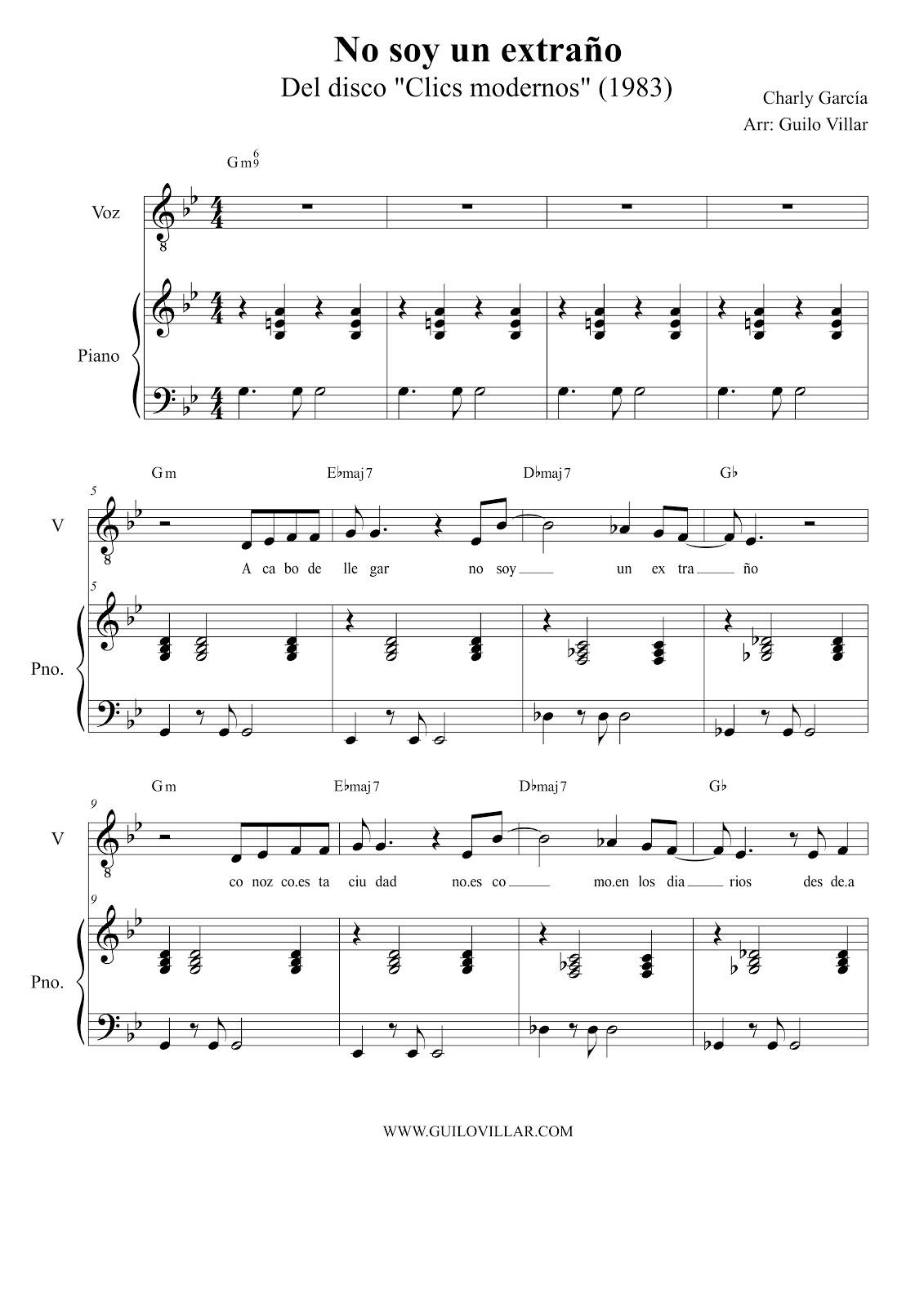 Charly Garcia No Soy Un Extrano Partitura Para Piano Y Voz