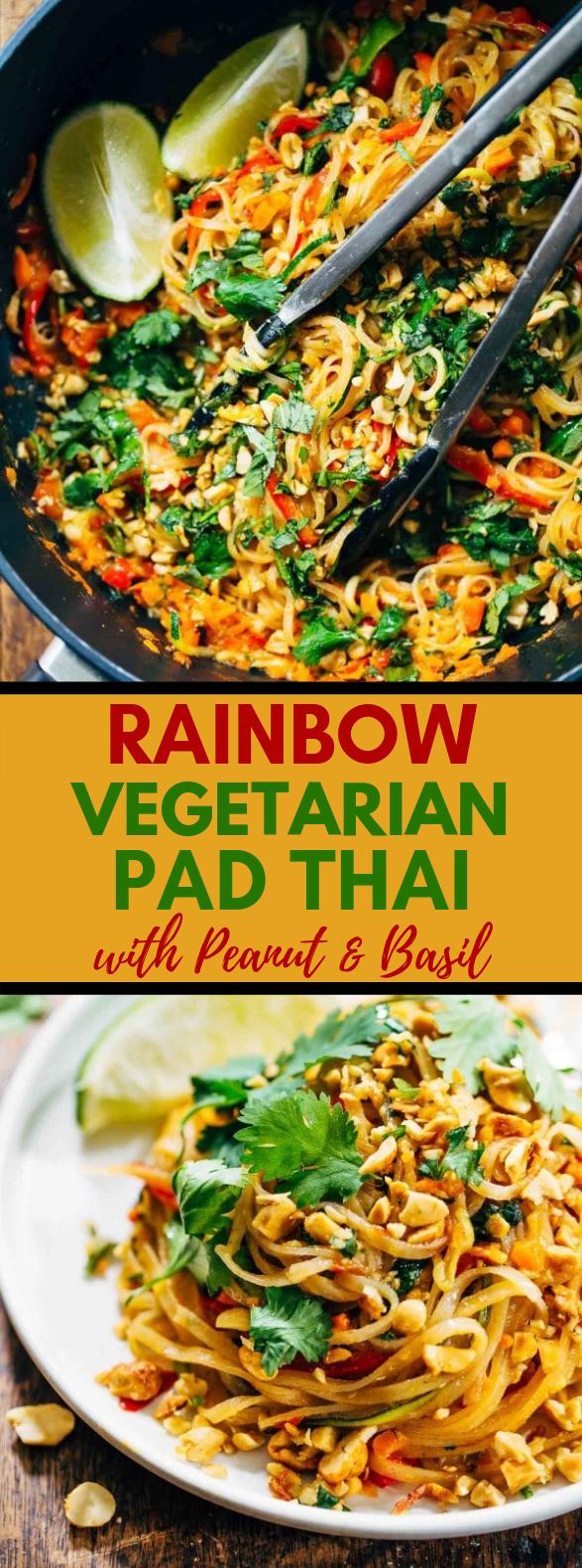Rainbow Vegetarian Pad Thai with Peanuts and Basil #Food #EasyRecipes