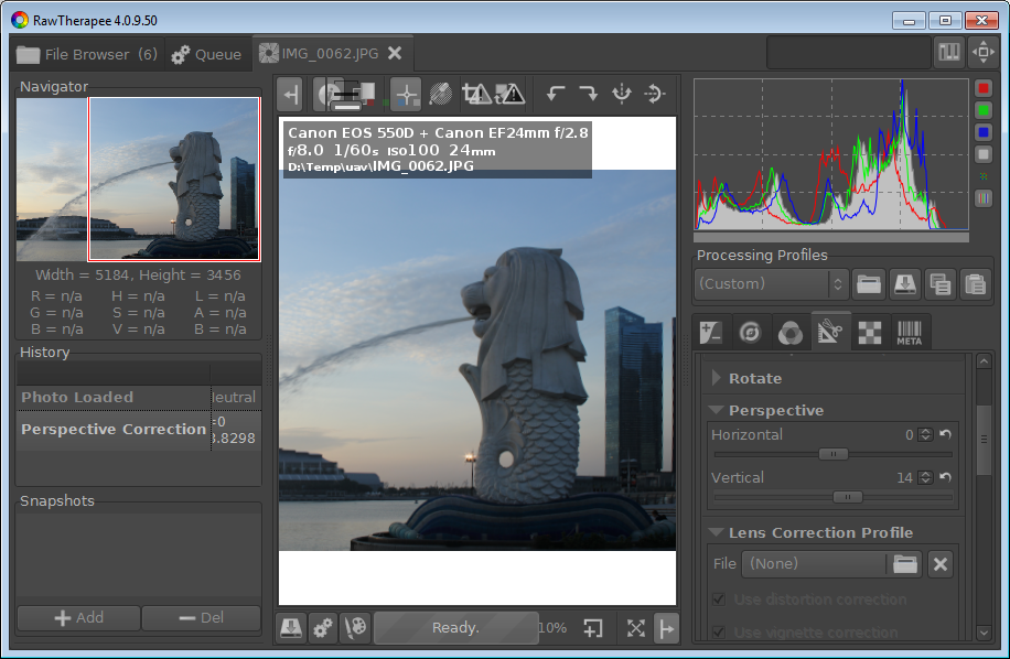 Correct image perspective using Raw Therapee