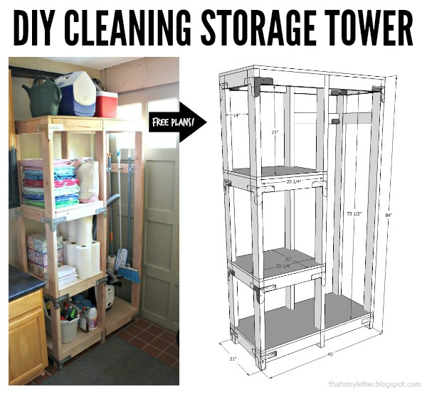 diy cleaning storage tower