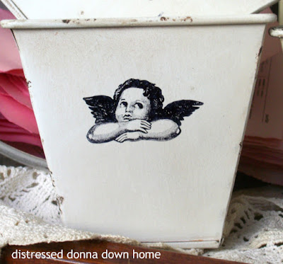 quick makeovers, cherubs, metal planters