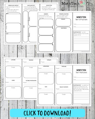nonfiction text structures and text features printable bookmark