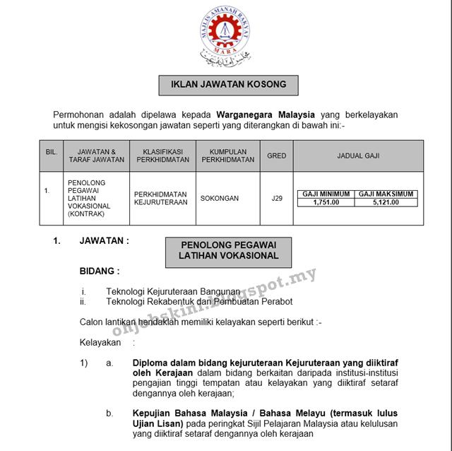 Jawatan Kosong Institut Kemahiran MARA (IKM) Lumut