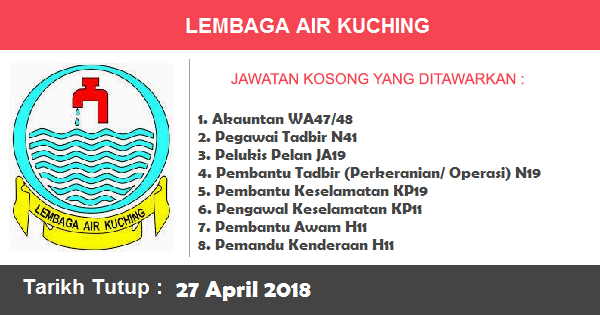 Jobs in Lembaga Air Kuching (27 April 2018)