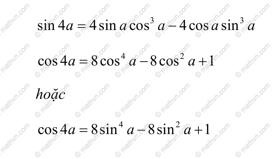 công thức nhân bốn lượng giác