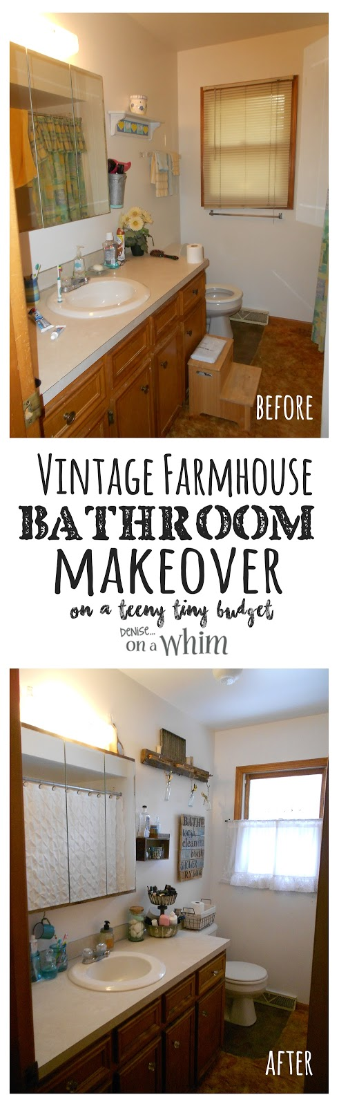 Vintage Farmhouse Bathroom Makeover - the Before and After | Denise on a Whim