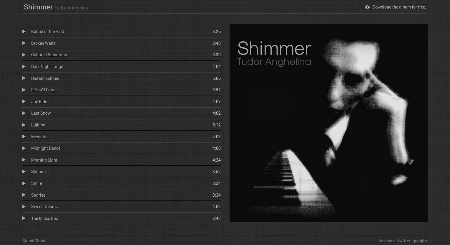 free music album blogger template html5 audio css3 javascript