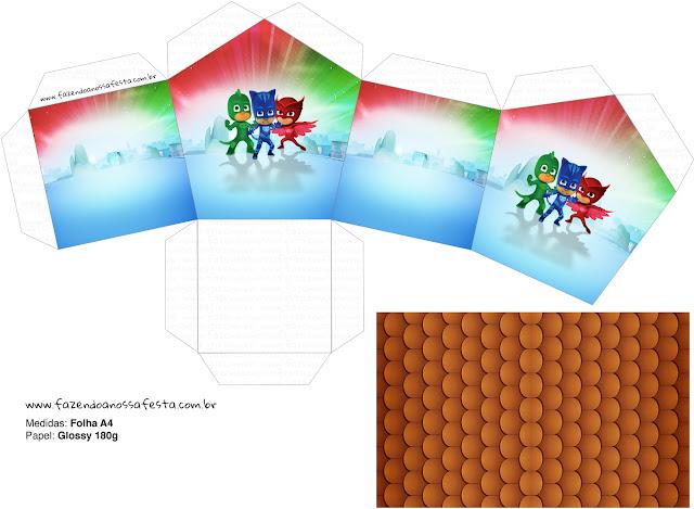 Caja con Forma de Casa para Imprimir Gratis de Super Héroes en Pijamas.