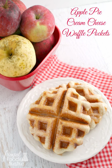 These quick and easy to make Apple Pie Cream Cheese Waffle Pockets are stuffed with cream cheese & your favorite apple pie filling.