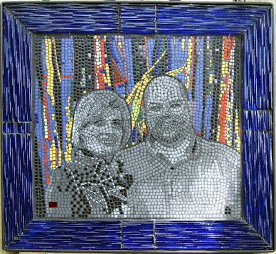 Mosaic realized in Reverse method, all glass construction, borders are Murano GLass.