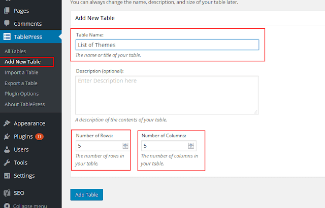 Create tables in WordPress