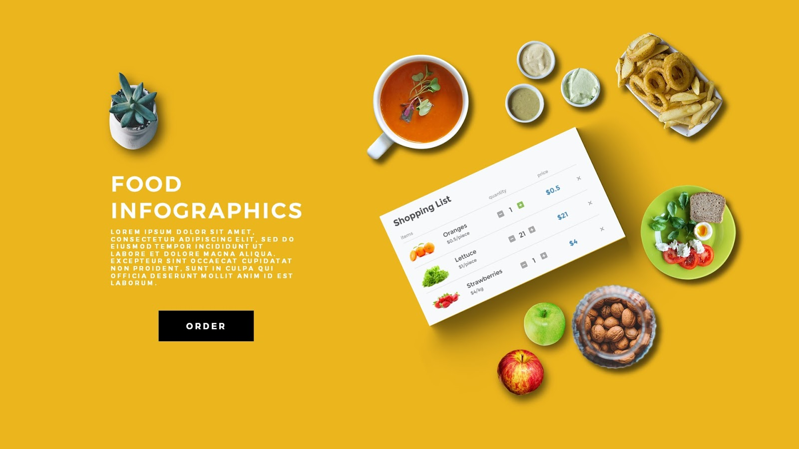 Food Scene Generating PowerPoint Template - Infographicon