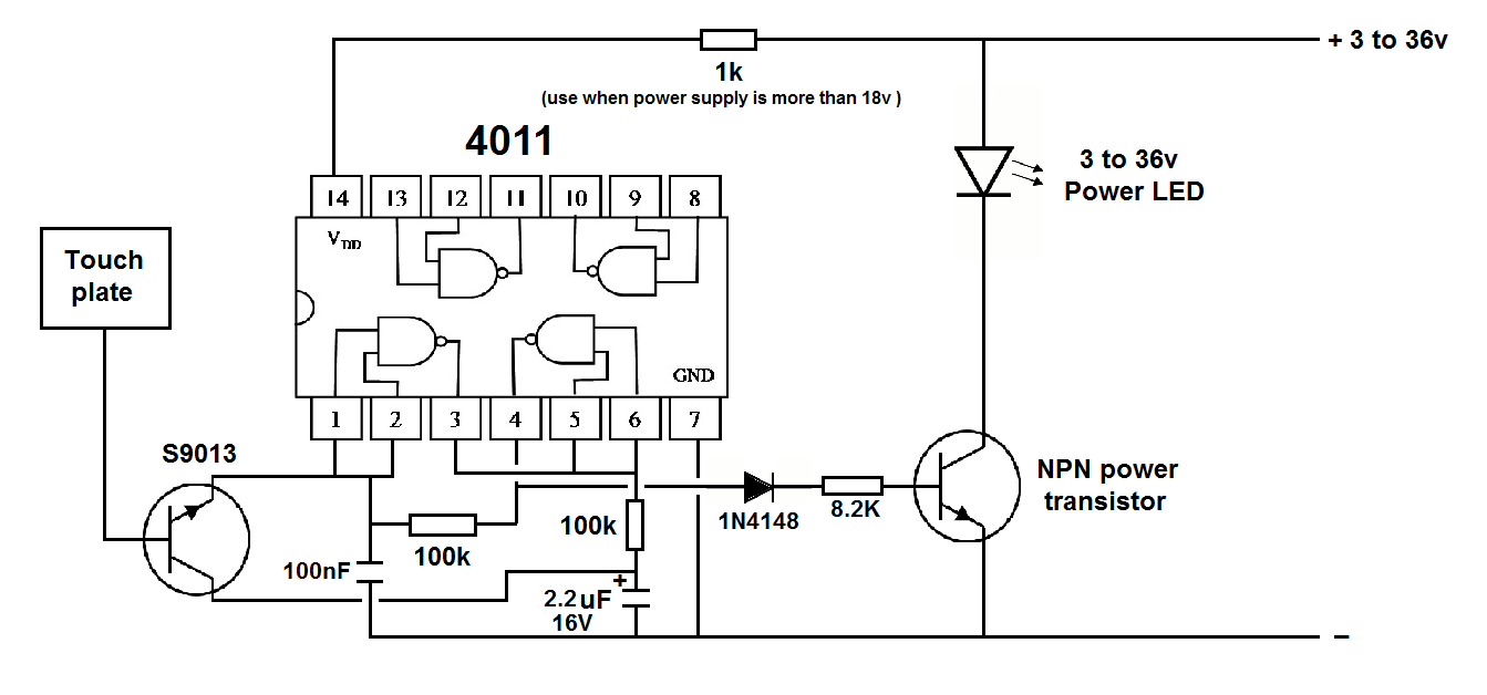 12v DC latching ON-OFF touch switch by one touching plate