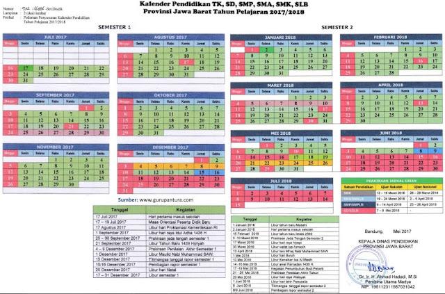 Kalender Pendidikan Jawa Barat Tahun 2017-2018 (www.gurupantura.com)