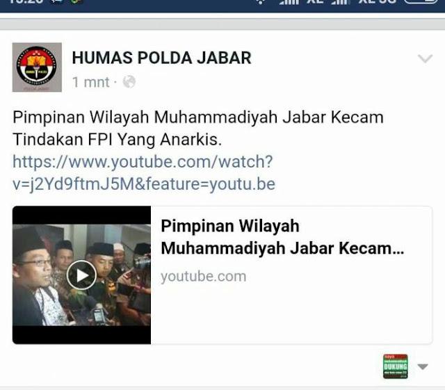 Bantah Polda Jabar, Muhammadiyah: Kami Tak Pernah Mengecam Tindakan FPI